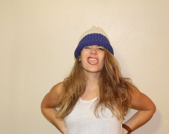 The Susitna | Slouchy Beanie & Solid Color Brim | Cobalt and Fisherman