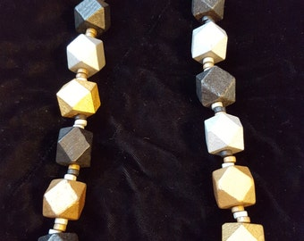 Silver, Gold, and Black Beaded Necklace and Earring Set