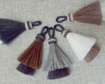 Horsehair tassel, Double stacked tassel, Boho Tassel, natural horse hair tassel,  hand-dyed, 4 inches, horsehair tassel, Western accessory