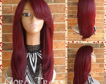 ON SALE // Long & Straight Lace Front Wig, 100% Human Hair Blend Wig, Red Wine Wig // LOVELY (Free Shipping)