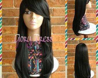 Ready To Ship // Long & Straight Full Wig, Side Swoop Bangs, Long Black Wig // SARAH