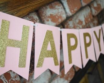 Pink & Gold Birthday Banner, Gold Glitter Banner, Glitter Birthday Banner