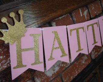 Pink & Gold Birthday Banner, Gold Glitter Banner, Glitter Birthday Banner, Birthday Banner