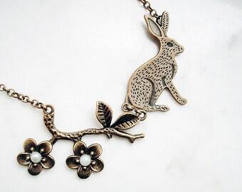 SALE - Flower rabbit necklace