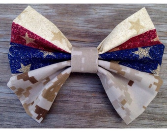 Flag and Military Camo Dual fabric Bow