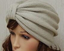 Knitted Turban Hat, Knit Hat for Women, Handmade Knitted Beanie, Knit Women's Turban, 50s Style Head Wear, Full Turban Hats,  CHOOSE COLOUR