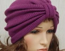 Knitted Turban Hat, Knit Hat Full Turban, Handmade Womens Beanie, Knit Women's Hats, 1950s Winter Hat, Full Turban Hats, CHOOSE COLOUR
