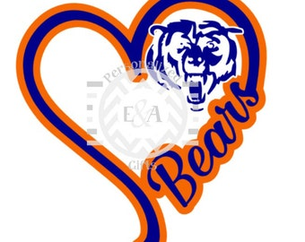 I Heart Bears, decal, Chicago, football, da bears