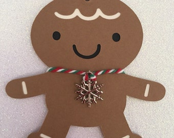 6 Handmade Christmas Gingerbread Man Gift Tags