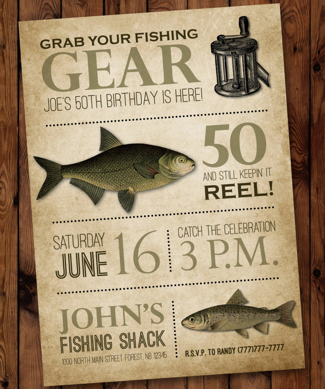 Fishing birthday invitation male birthday invitation fishing for Fishing birthday invitations