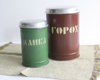Set of 2 Vintage Soviet Metal Containers for Kitchen Decor