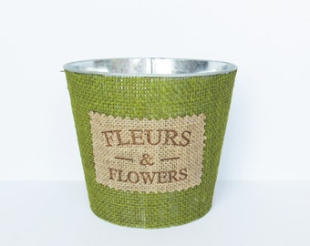 Metal Flower Pot - Green - Flower Pot - Burlap