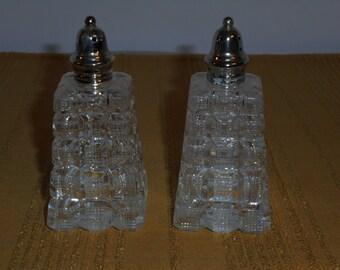 Vintage Crystal  Salt and Pepper Shakers
