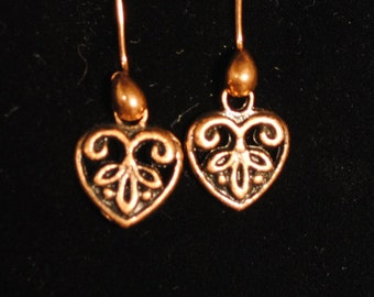 Carved Antique Copper Heart Earrings