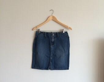 SALE Vintage denim mini skirt with front slit