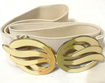 1980s Beige Elastic Stretch Belt with Enameled Closure