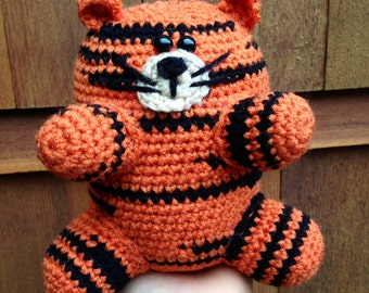 Handmade crochet tiger- stuffed animal tiger- knit plush tiger- handmade chubby tiger- stuffed toy tiger