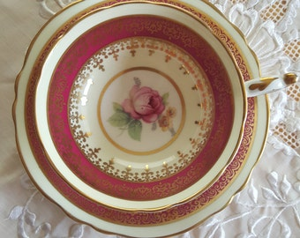 Vintage Rare Cranberry Red/Maroon Paragon rose teacup and saucer, Pink rose teacup, Bone china teacup set