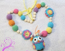 Necklace with Owl Nursing necklace for Mommy Baby Shower toy  Babywearing necklace Teething necklace Teether Rattle Teething Owl Crochet owl
