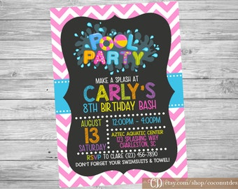 Pool Party Invitation / Girl Pool Party / Pool Party Invite / Swim Party Invitation