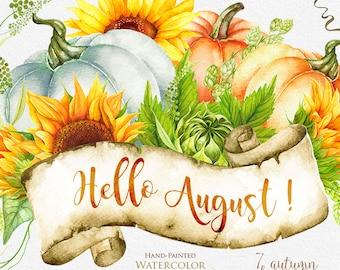 Pumpkin & Sunflower Watercolor clipart, Golden Autumn, Halloween, digital bouquets, hand painted clipart, fall clipart, instant download