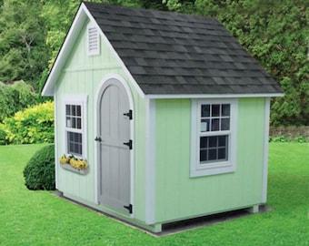 Extra Large 8' x 6' Kids Custom Handmade Playhouse Cottage - Multiple Color Options- Amish Made