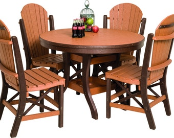 Recycled Poly Lumber 54 Inch Round Outdoor Dining Table With 5 Fanback Side  Chairs   2