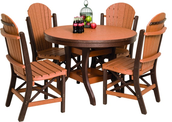recycled poly lumber 60 inch round outdoor dining table with 6 fanback
