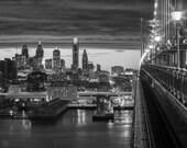 BW Brillance on the Ben   Philadelphia, Pennsylvania, PA, Wall Art, Cityscape, fine art, black and white, Philly, Bridge, Ben Franklin