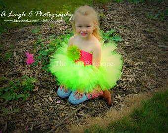 Pink and Lime Green Tutu Dress, Flower Girl Tutu Dress, Wedding, Cute Dress up Dress, Gift, Birthday Tutu Dress, Fun Play