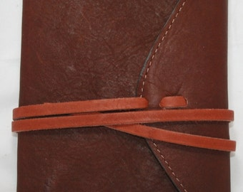 """Leather Companion Journal with Wraparound Strap to Close, Brown 4"""" X 6"""" with Lined Paper Filler (Refillable Paper) Handcrafted in USA"""