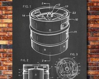 Beer Keg Patent Print Art 1994