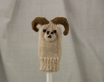 Dall Sheep Knit Wool Finger Puppet