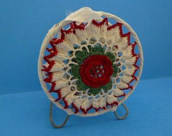 Christmas, Crocheted, Napkin Holder, Vintage