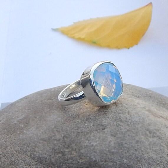 Opal Ring Cushion Cut Blue Opal Oplite Gemstone by Subhamjewels