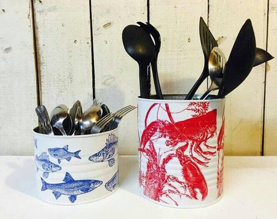 Red lobster decorative utensil holder kitchen by ruthshabbychic - Unique kitchen utensil holder ...