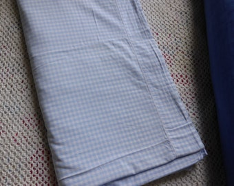Vintage French cotton blue white gingham check single flat bed sheet