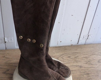 Vintage Jimmy Choo chocolate brown suede knee high pull on fur lined boots size UK 6 39