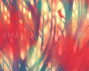 Painting of Cardinal in Tree Giclee Art Print