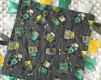 Personalized Tag Minky Sensory Ribbon Blanket Lovey- Fun, Happy Robots and Teal Minky Dot