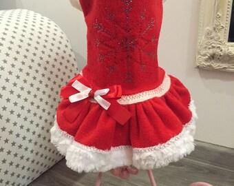 Christmas dog dress with snowflake rhinestones Santa claus dog dress