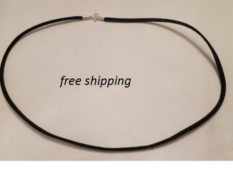 Leather necklace with sterling silver clasp, 18 inches