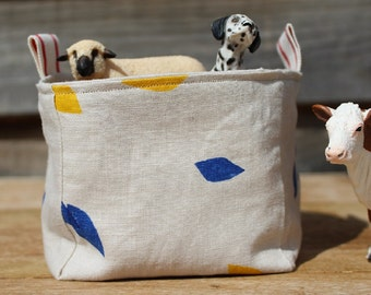 Fabric Basket/Box/Bucket/Storage/Hand Printed/Pure Linen/Yellow and Blue Leaves