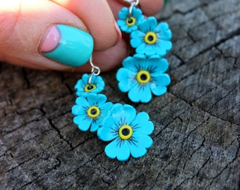 Forget-me-not jewelry, little flowers earrings, 925 silver, Polymer clay earrings