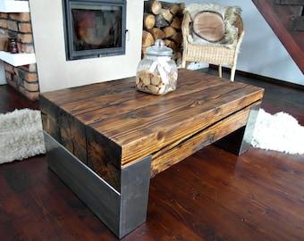 Handmade Reclaimed Wood & Steel Coffee Table - Vintage Rustic Industrial Coffee Table