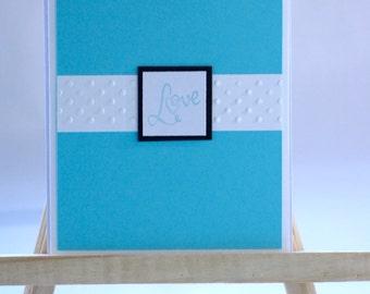 Turquoise Love Card, Handmade Wedding Card, Anniversary Card, Valentine's Day Card