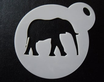 Unique bespoke new laser cut elephant walking cookie / face painting stencil
