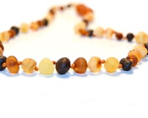 Raw Amber Teething Necklace for Baby, Multicolor, Baroque Style, 28 or 32 cm, Knotted for Safety, Genuine Baltic Amber Beads, B5-5BU