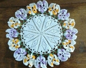 Doily Edged with Pansies