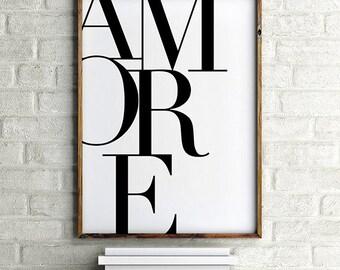 Italian Poster, Amore Print, Romantic Print, Typography Art Bedroom Print Love Print Love In Italian Black and White Print Larger